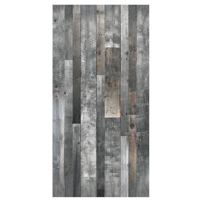 """Revêtement mural, effet de bois, 1/4"""" x 48"""" x 96"""", gris"""