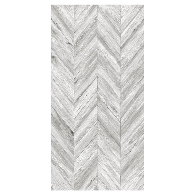 "Decorative Whitened Faux Wood Panel - 48"" x 96"""