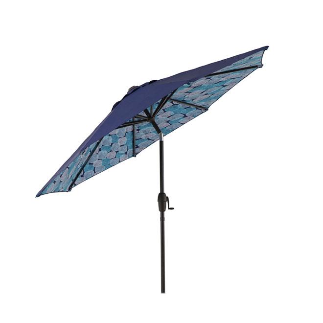 Parasol de patio de type marché, inclinable, 9', brun/bleu