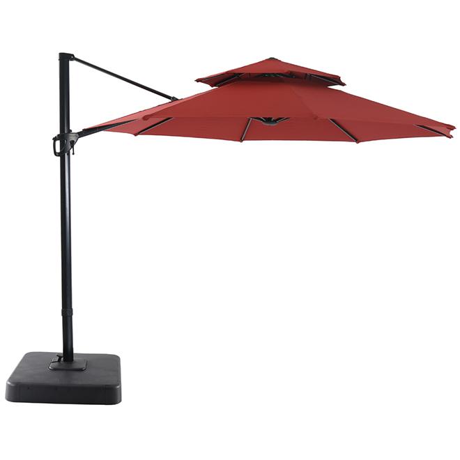 Cantilever Umbrella - LED - Aluminum/Olefin - 11'' - Red/Black