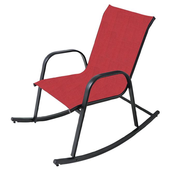 Chaise berçante en acier, rouge et noir