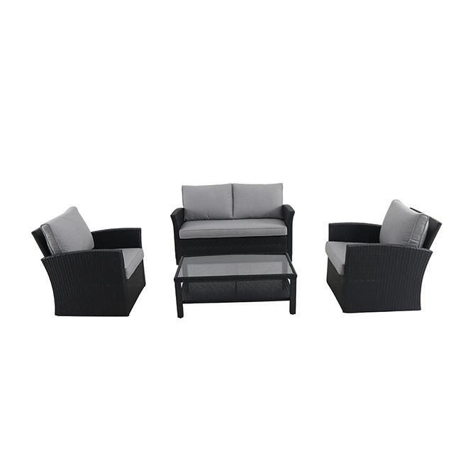 Ensemble de mobilier extérieur en osier, noir, 4 morceaux