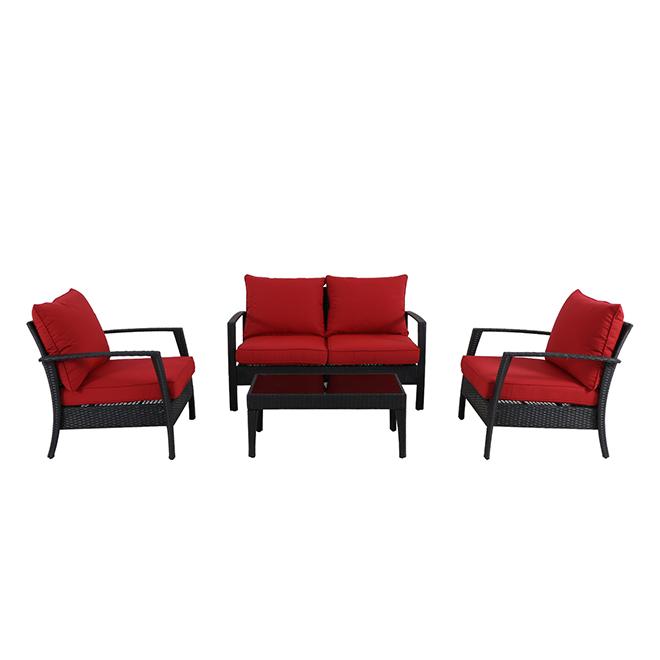 Addison 4-Piece Outdoor Conversation Set - Black/Red