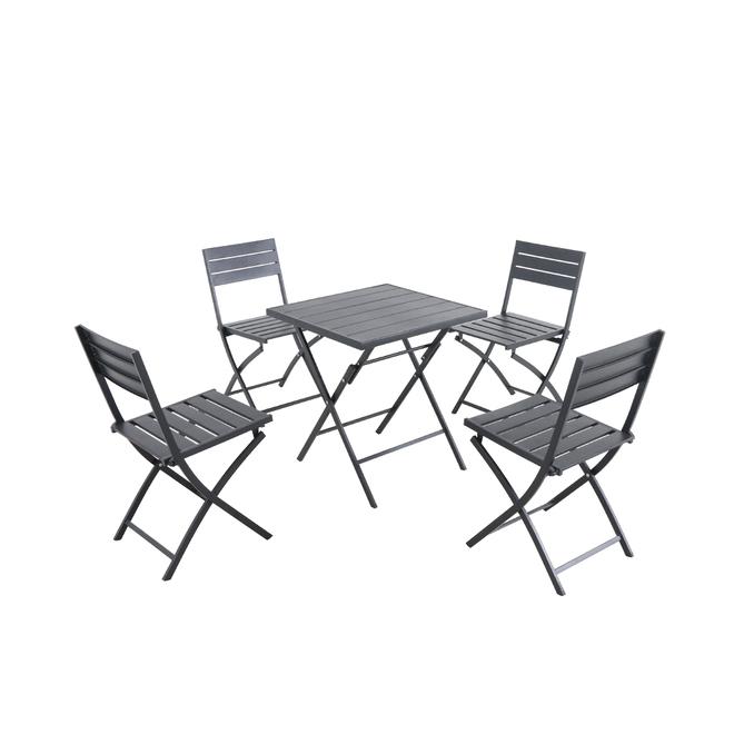 Ensemble à dîner pliable, Style Selections, 5 pièces, noir