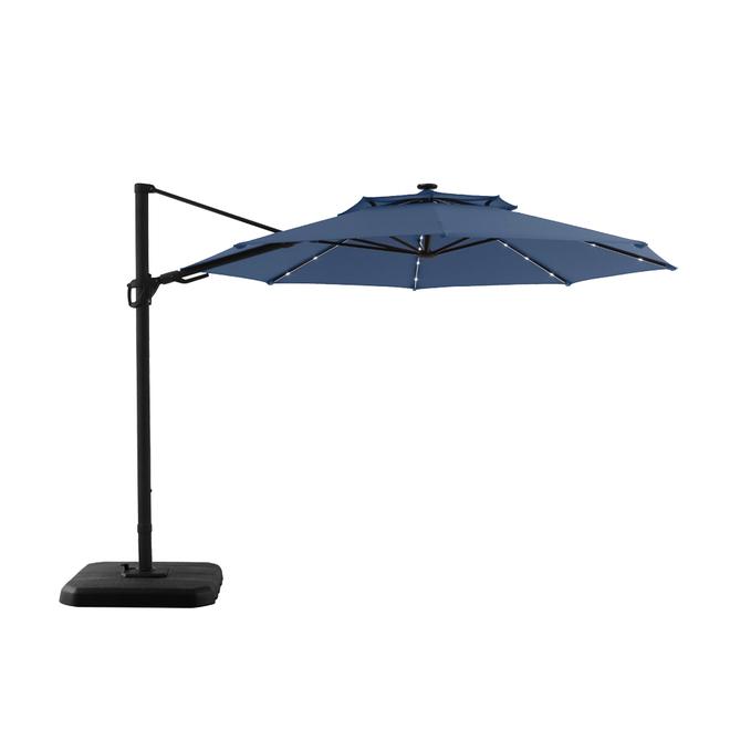 Parasol excentré Style Selections à lumières DEL, 11 pi, bleu marine