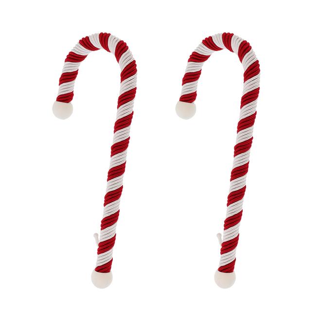 Porte-bas de Noël Haute Decor, cannes de bonbons, corde/métal, 9 po, rouge/blanc, paquet de 2