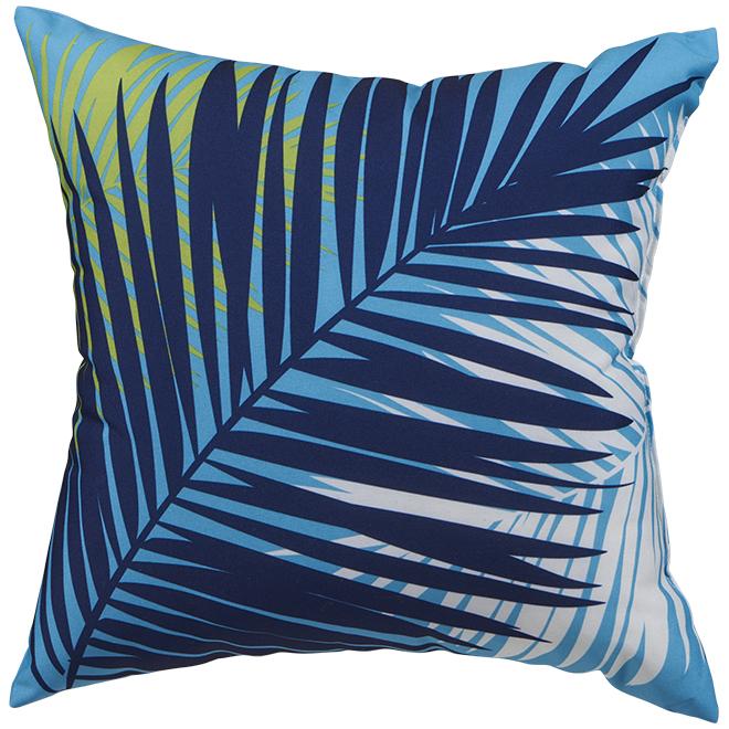 Garden Treasures Polyester Cushion - 16-in x 16-in - Aqua Palm