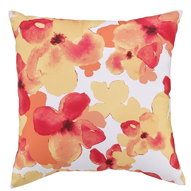 Coussin fleuri pour patio Style Selections, 16 po x 16 po, polyester, multicolore