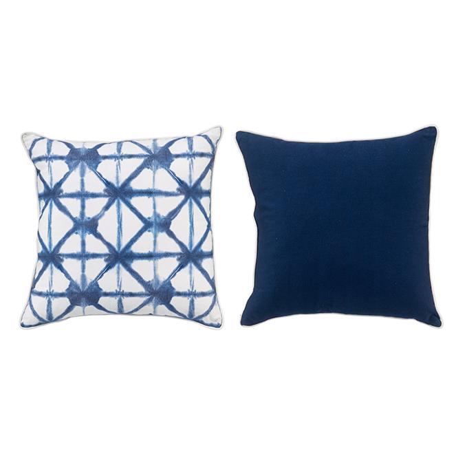 Allen + Roth Outdooor Shibori Cushion - 18-in x 18-in - Blue