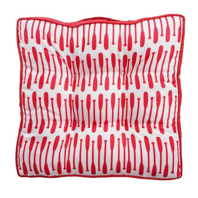 Coussin réversible Style Selections pour chaise ou sol, 18,5 po x 3,1 po, pagaies, rouge