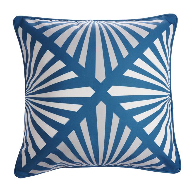 Coussin carré allen + roth pour patio, motif ligné, 18 po x 18 po, polyester, bleu