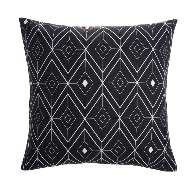 Coussin extérieur Style Selections, 16 po x 16 po, polyester, blanc/noir