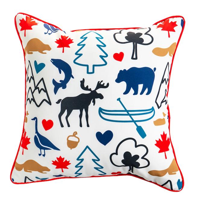 Coussin décoratif, motif animaux sauvages, 18 po x 18 po, polyester, multicolore