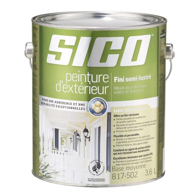 Peinture et apprêt d'extérieur Sico, semi-lustré, base moyenne, opaque, 3,6 L