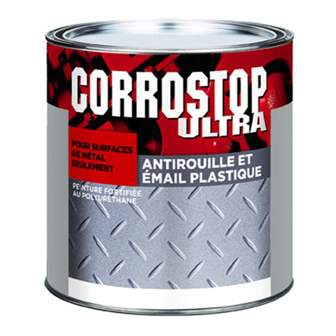 Peinture antirouille Corrostop Ultra de Sico, noir, lustré, polyuréthane alkyde, 236 ml