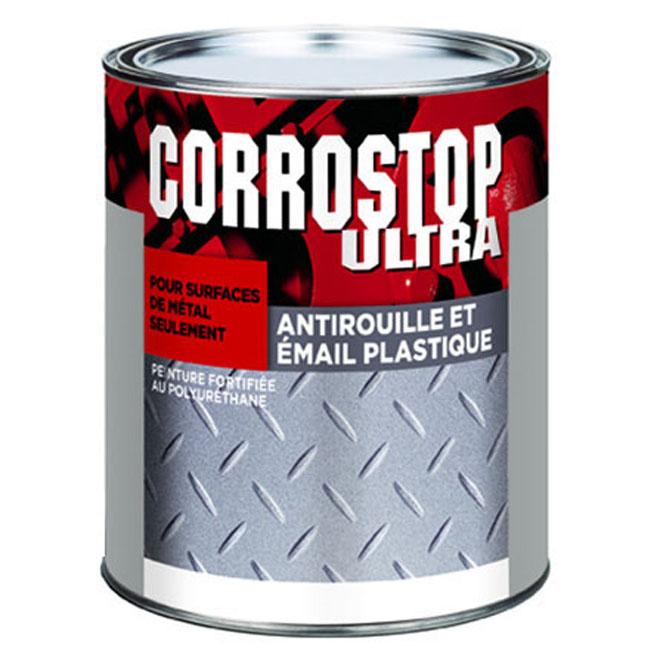 Peinture antirouille Corrostop Ultra de Sico, gris, lustré, à base d'alkyde, 946 ml