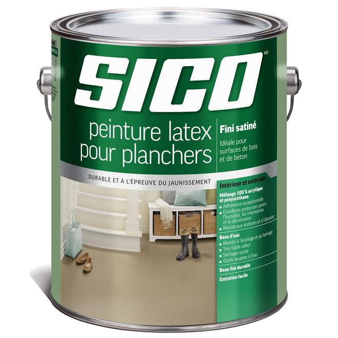 Peinture latex acrylique et polyuréthane pour plancher de bois et de béton Sico, fini satiné, base neutre, 3,5 L