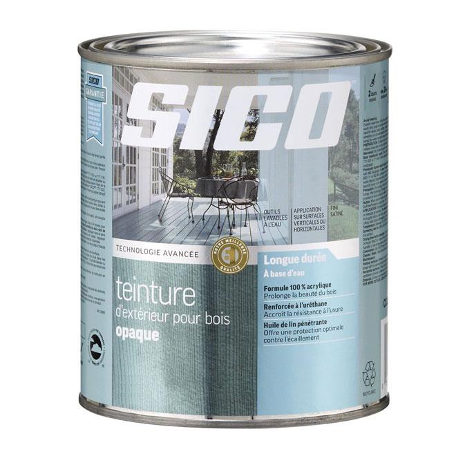 Teinture d'extérieur pour bois à base d'eau Sico, formule durable, base moyenne, satiné, 899 ml