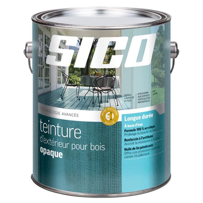 Teinture d'extérieur pour bois à base d'eau Sico, formule durable, base moyenne, satiné, 3,78 L