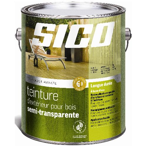Teinture d'extérieur à base d'eau pour bois Sico, semi-transparent, naturel, satiné, 3,78 L