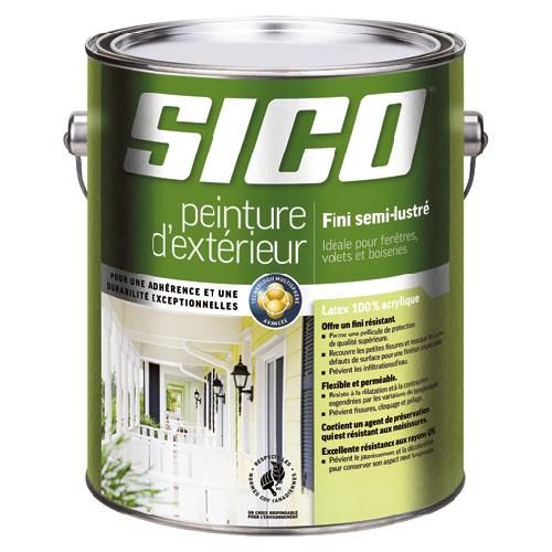Peinture d'extérieur au latex Sico, 3,78 l, fini semi-lustré, blanc pur