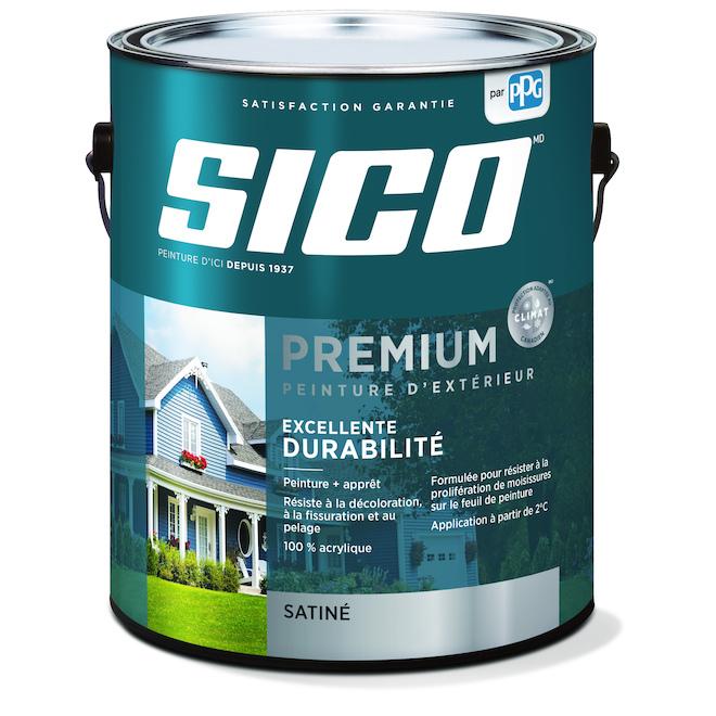 Peinture et apprêt d'extérieur pour bois Sico Premium, satiné, blanc pur, opaque, 3,78 L