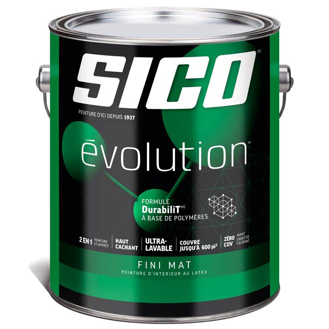 Peinture et apprêt d'intérieur SICO Evolution au latex, fini mat, 3,78 L, base 3