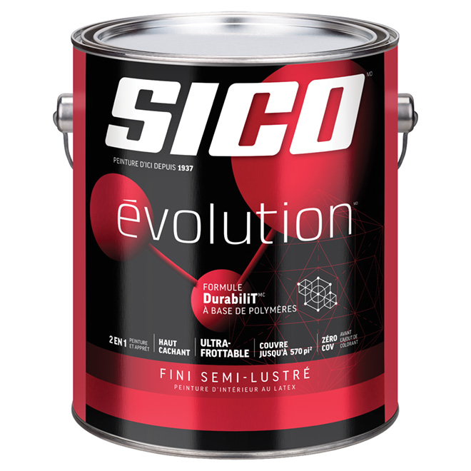 Peinture et apprêt d'intérieur SICO Evolution, fini semi-lustré, 3,78 L, blanc pur