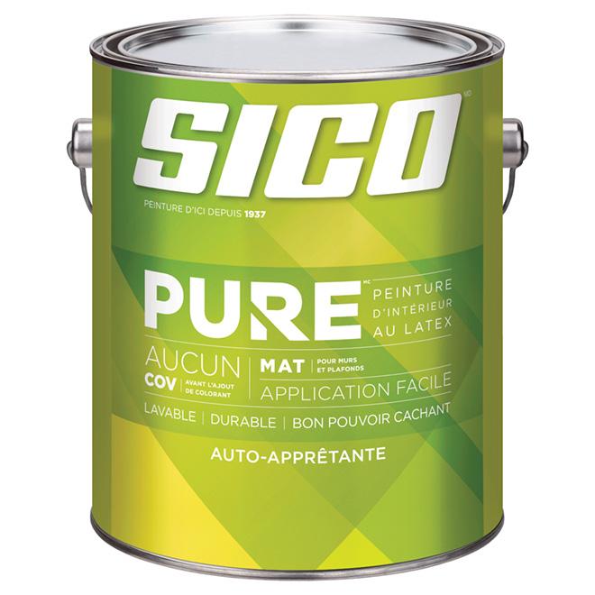 Peinture auto-apprêtante SICO Pure au latex, fini mat, 3,78 L, base moyenne