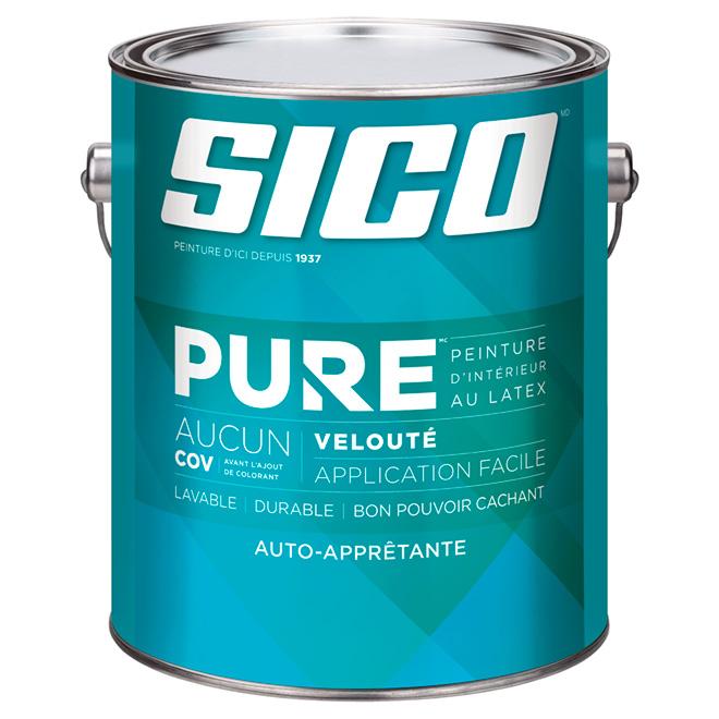 Peinture d'intérieur SICO Pure au latex, fini velouté/coquille d'œuf, 3,78 L, base moyenne