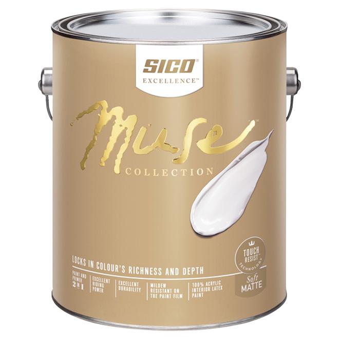 Sico Muse Interior Paint and Primer - 3.78 L - Soft Matte - Pure White
