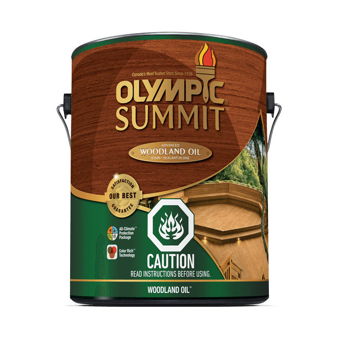 Teinture et scellant d'extérieur pour bois Olympic Summit, semi-transparent, acajou, 3,78 l