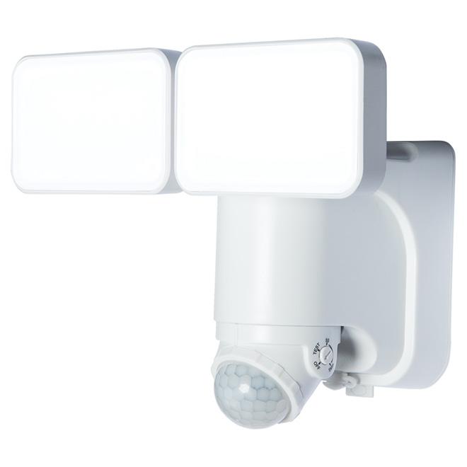 Double lumière solaire DEL Heath Zenith, détecteur de mouvement, technologie réserve d'énergie, 180°, blanc