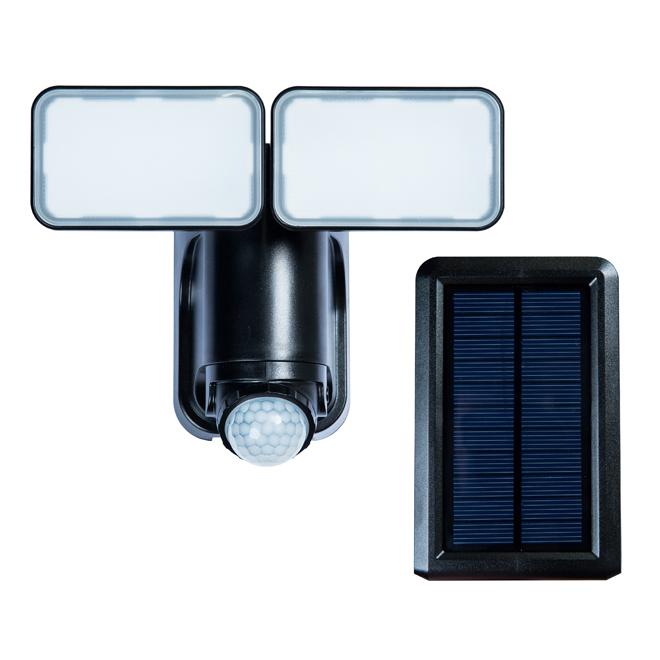 Lumière de sécurité solaire, double DEL avec détecteur, noir