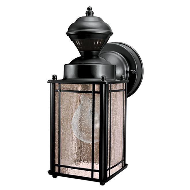 Heath Zenith Decorative Outdoor Wall Light with 150° Motion Sensor - Black