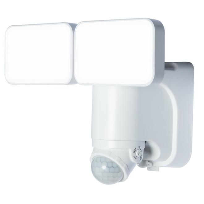Double lumière solaire DEL Heath Zenith, détecteur de mouvement, réserve d'énergie, 1000 lumens, 180°, blanc