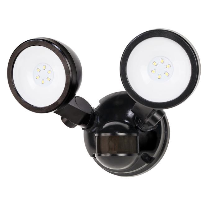 Heath Zenith Twin Head Security Light - Integrated LED - 180° - Black