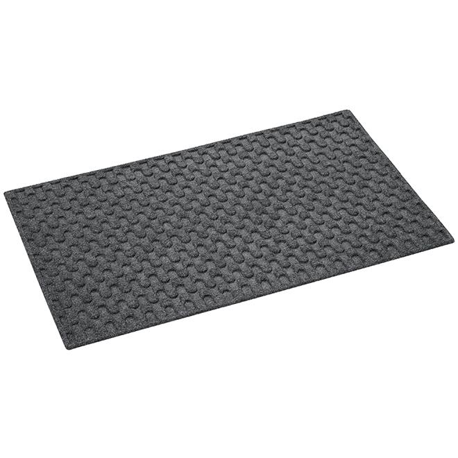 "Tapis rectangulaire en polypropylène, 18"" x 30"", gris"