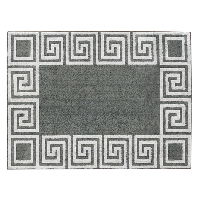 Tapis d'intérieur Méandre de Korhani Home, 5 pi x 7 pi, gris et argent