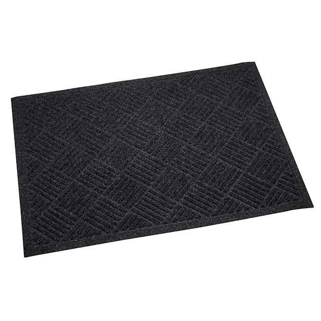 """Esteem Door Mat - 31"""" x 44"""" - Polyester and Rubber - Black"""