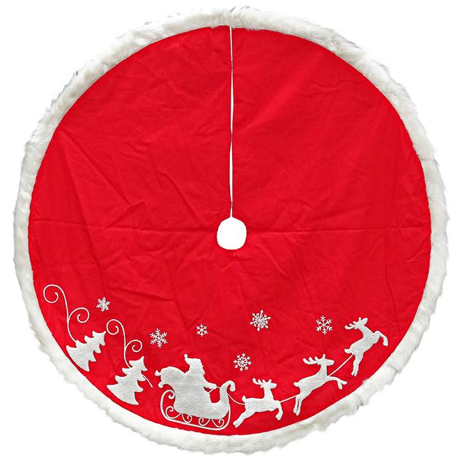"""Jupe d'arbre de Noël, polyester, 56"""", rouge et blanc"""