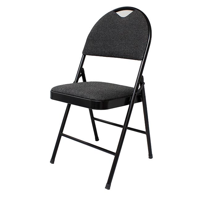 """Chaise pliante en tissu Enduro(MC), 18,3"""" x 20"""" x 37 3/4"""", noir"""