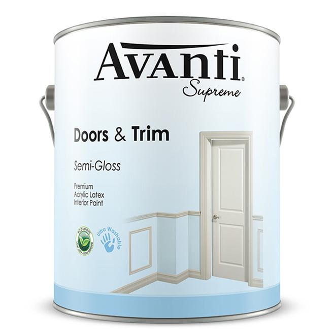 Avanti Supreme Interior Paint For Doors and Trim - Acrylic Latex - Semi-Gloss Finish - White - 3.78-L