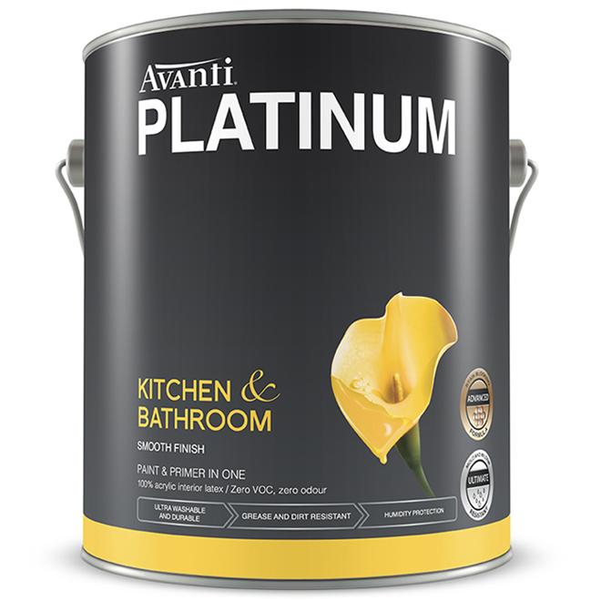 Avanti Platinum Kitchen and Bathroom 2-in-1 Paint - Soft-Gloss Finish - 3.78-L