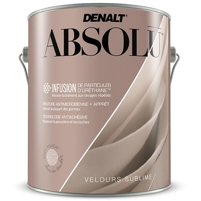 Peinture antimicrobienne et apprêt tout-en-un Denalt Absolu, fortifié à l'uréthane, velours sublime, blanc, 3,78 L