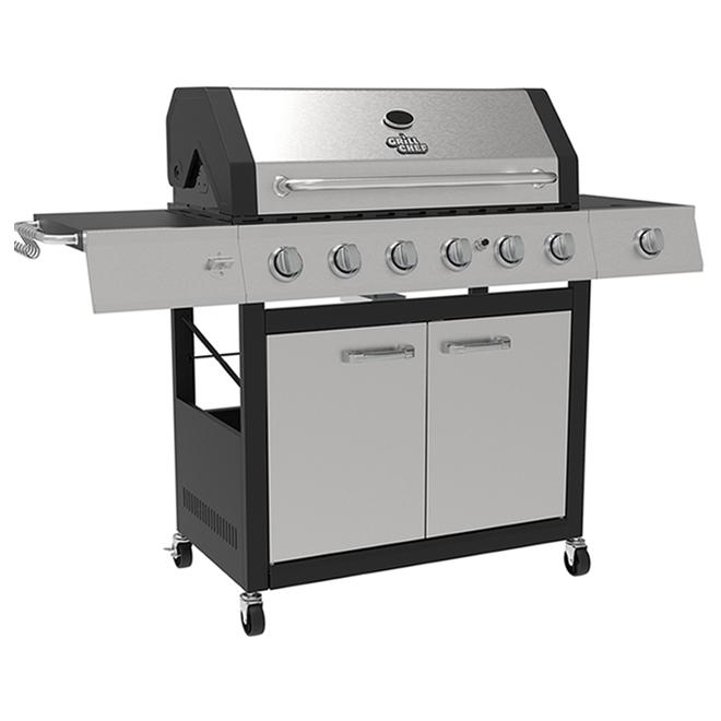 Barbecue Grill Chef gaz propane de 78,000 BTU et 842 po², 6 brûleurs, acier inoxydable