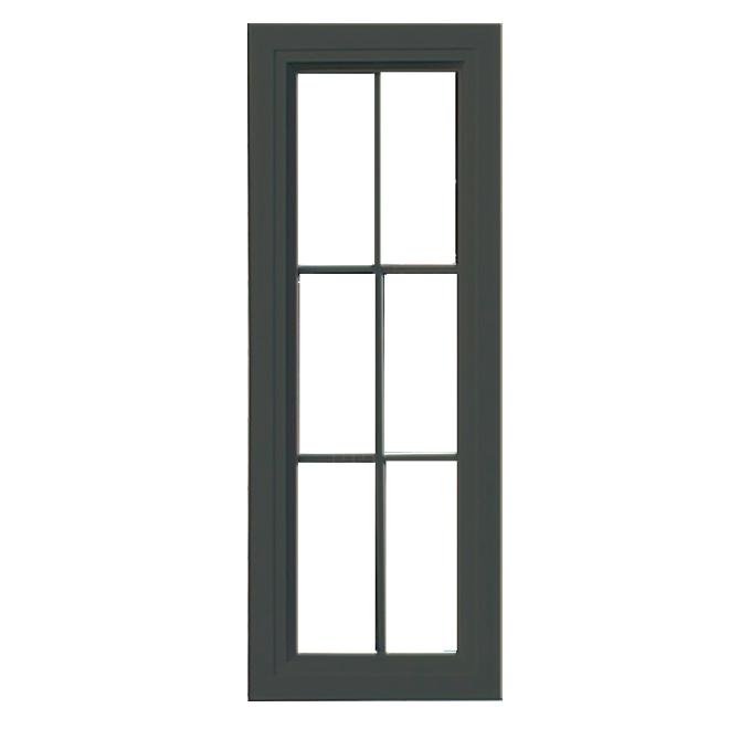 Fenêtre peinte en PVC pour cabanon de Riopel, 6 panneaux, brun-noir, 38 3/4 po H. x 14 3/8 po l.