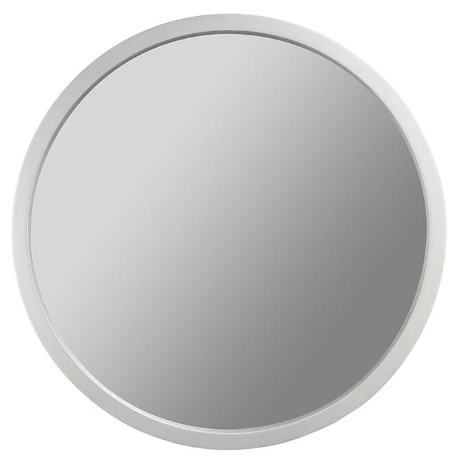 """Miroir rond en MDF « Bentwood », 26"""" X 1,5"""", argent métallique"""