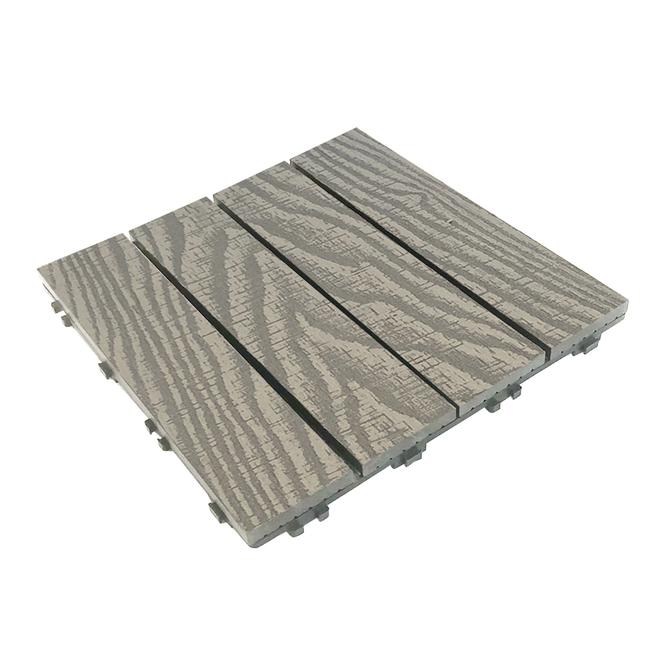 "Elegance Prestige Decking Tile - 12"" x 12"" - Light Grey - 10/Box"