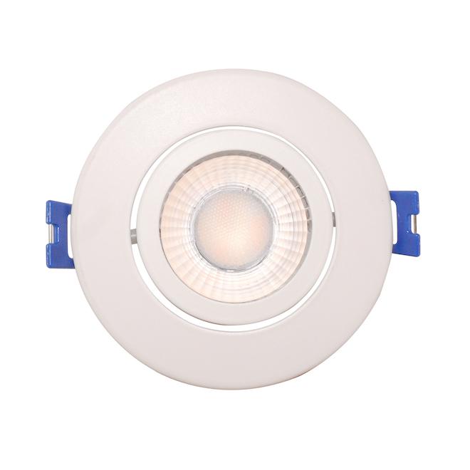 Luminaire DEL encastré cardan Leadvision à intensité variable, 4 po, blanc